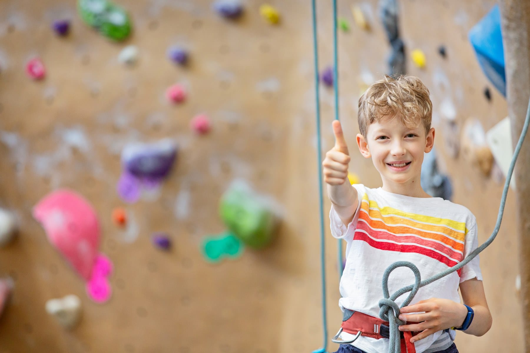 positive little boy in climbing harness ready for rock climbing in indoor gym, healthy lifestyle concept, copy space on left